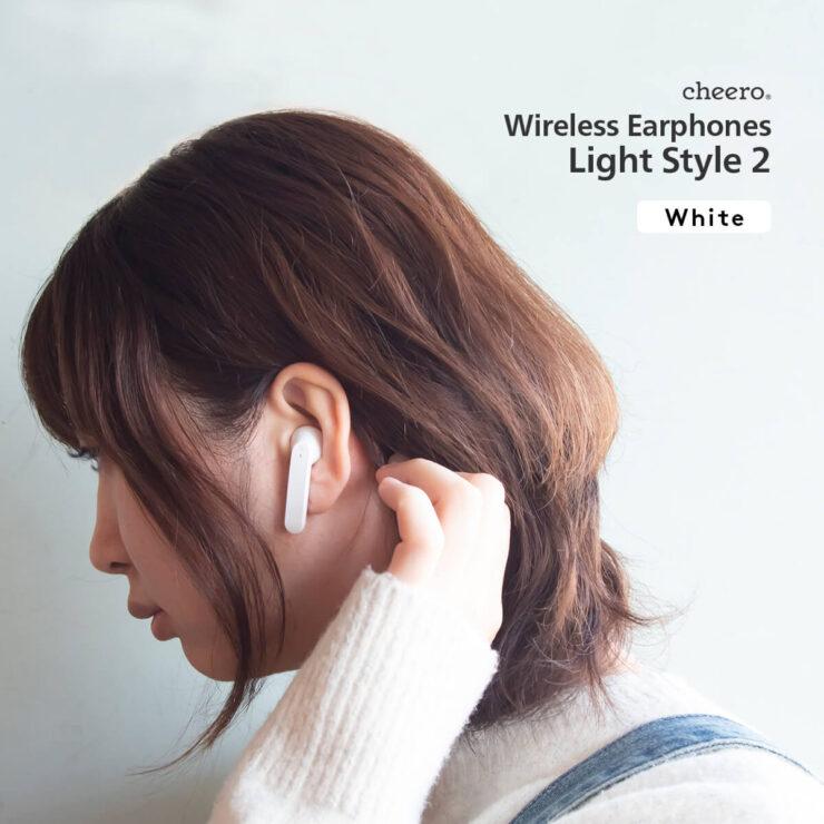 cheero Wireless Earphones Light Style2 ホワイト装着