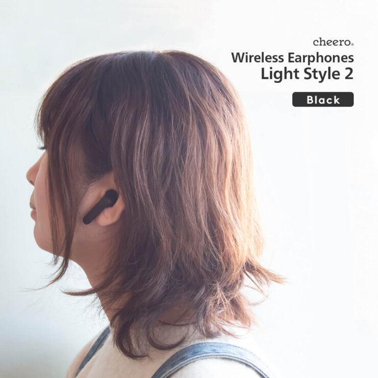 cheero Wireless Earphones Light Style2 ブラック装着