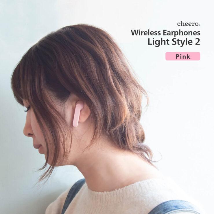 cheero Wireless Earphones Light Style2 ピンク装着