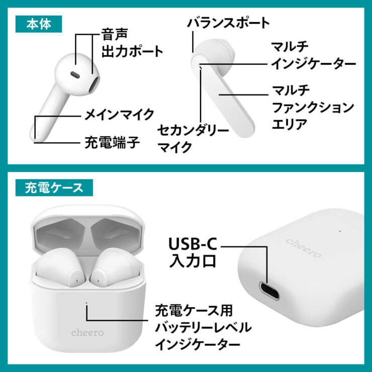 cheero Wireless Earphones Light Style2本体各所説明